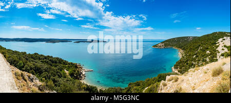 Panoramic view of Adriatic Sea and island Cres in the distance,  near town Lopar on island Rab in Croatia - Stock Photo