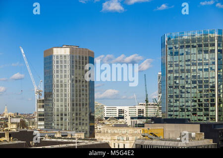 Angel Court in the City of London Bank Conservation Area and Stock Exchange Tower, EC2, London's financial district - Stock Photo