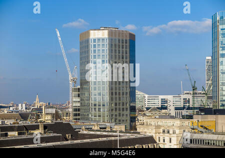 Angel Court, a modern architecture building in the City of London Bank Conservation Area between Throgmorton Street - Stock Photo