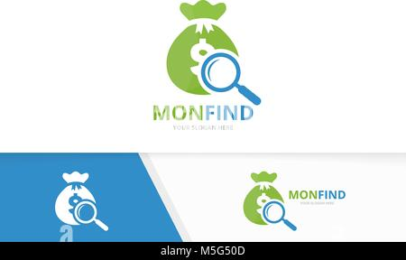 Vector bag and loupe logo combination. Sack and magnifying symbol or icon. Unique money and search logotype design - Stock Photo