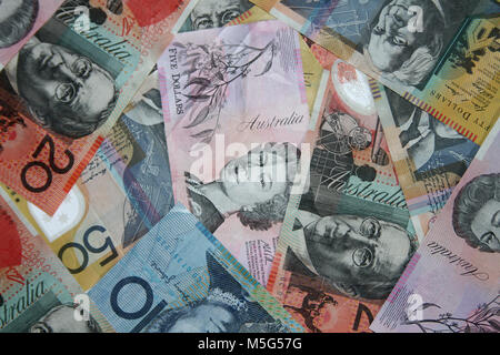 Composite shot of different Australian dollar bills - Stock Photo