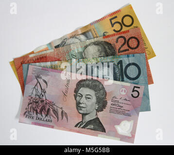 Full range of Australian bank notes - Stock Photo