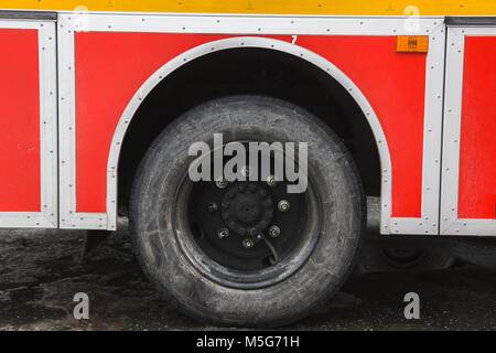 Wheel in Fire truck - big red Russian fire fighting vehicle - Stock Photo