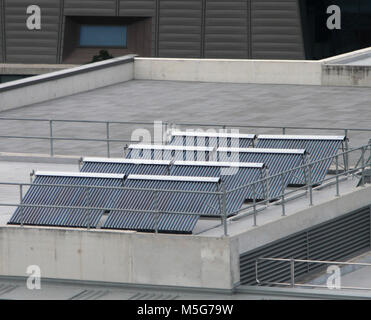 Evacuated heat pipe tubes (EHPTs) on the roof of a building, Brisbane, Australia - Stock Photo