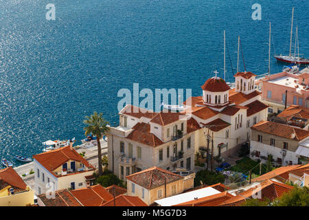 View of the Chora village of Poros island from a nearby hill, Greece. - Stock Photo