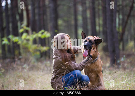 Young attractive woman playing with German Shepherd dog outdoors in the autumn park, close up - Stock Photo