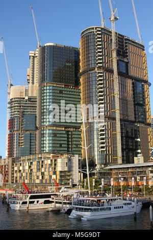 Development and Construction of corporate office towers at Barangaroo in Sydney city centre, Australia - Stock Photo