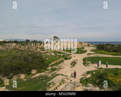 View across excavated ancient Roman city ruins of Salamis Famagusta Turkish Republic of North Cyprus from top of - Stock Photo