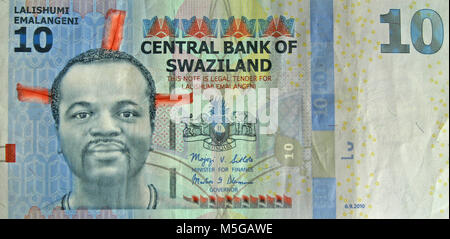 10 Swazi lilangeni banknote, obverse side - Stock Photo