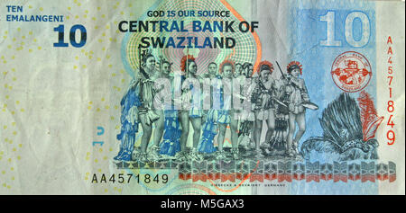 10 Swazi lilangeni banknote, reverse side - Stock Photo