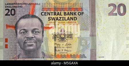 20 Swazi lilangeni banknote, obverse side - Stock Photo