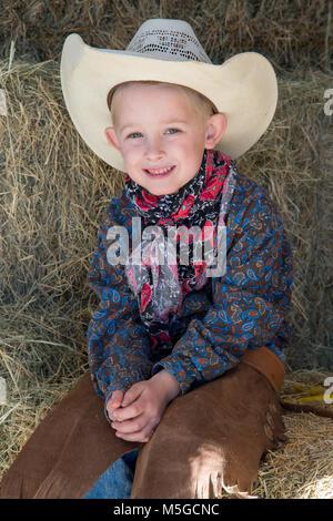 Smiling young cowboy in Arizona - Stock Photo