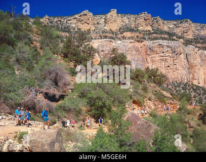 Bright Angel Trail Grand Canyon - Mile and-a-Half House  With water available (subject to pipeline breaks) between - Stock Photo
