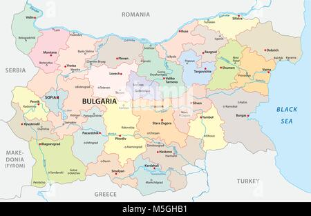 Bulgaria vector map with major cities and rivers - Stock Photo