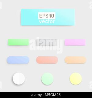Material flat multicolor button template infographic design. Different simple soft buttons with shadow on light - Stock Photo