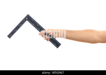 Carpenter ruler L shape. Hand holding an angle square ruler on white background - Stock Photo