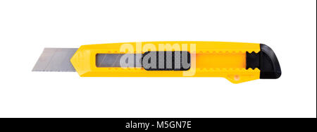 Yellow paper cutter isolated on white background, top view - Stock Photo