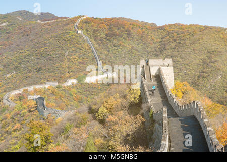 China The great wall distant view compressed towers and wall segments autumn season in mountains near Beijing ancient - Stock Photo