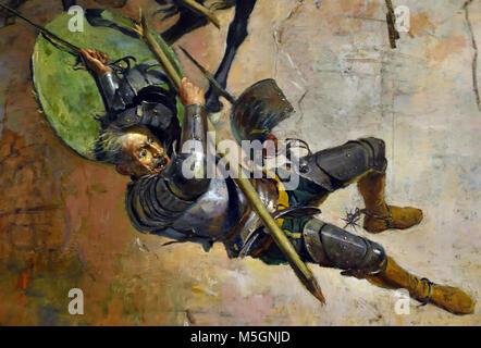 Don Quijote y los Molinos - Don Quixote and the Mills by Jose Moreno Carbonero 1860-1942 20th, century, Spain, Spanish, - Stock Photo