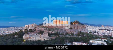 Acropolis Hill and Parthenon in Athens, Greece - Stock Photo