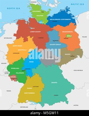 Administrative map of the Federal Republic of Germany in English - Stock Photo