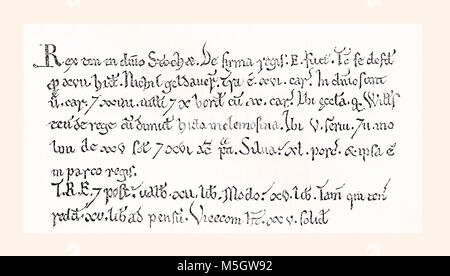 Facsimile of a specimen from the Domesday Book, a record of the 'Great Survey' of England and parts of Wales completed - Stock Photo