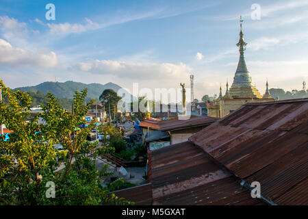 View over Kalaw in Shan State, Myanmar - Stock Photo