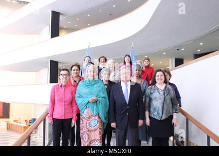 UN, New York, USA. 23rd Feb, 2018. UN Secretary General Antonio Guterres poses with his Women Leaders including - Stock Photo