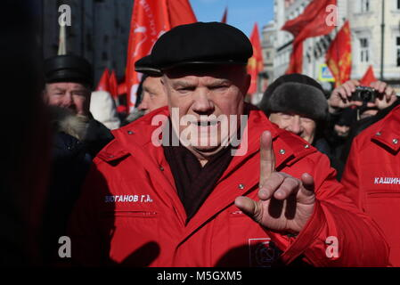 Moscow, Russia. 23rd Feb, 2018. Gennady Zyuganov, the leader of the Communist Party of the Russian Federation (CPRF), - Stock Photo
