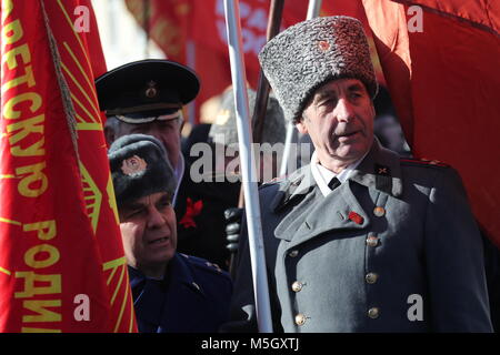 Moscow, Russia. 23rd Feb, 2018. Military veterans in Soviet uniform at a rally organised by the CPRF in central - Stock Photo
