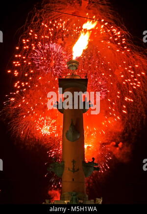 St Petersburg, Russia. 23rd Feb, 2018. ST PETERSBURG, RUSSIA - FEBRUARY 23, 2018: Fireworks light up the sky over - Stock Photo
