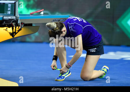 London, UK. 23rd Feb, 2018. During International Table Tennis Federation Team World Cup match between  at Copper - Stock Photo