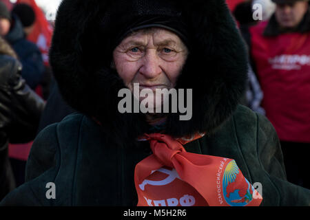 Moscow, Russia. 23rd Feb, 2018. Participants of the march in honor of the 100th anniversary of the Red Army Credit: - Stock Photo