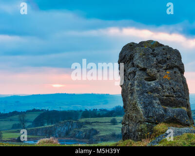 Harborough Rocks, Derbyshire. 23rd Feb, 2018. UK Weather sunset at Harborough Rocks near Brassington & the High - Stock Photo