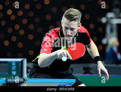 London, UK. 23rd Feb, 2018. Ruwen Filus of Germany  during International Table Tennis Federation Team World Cup - Stock Photo