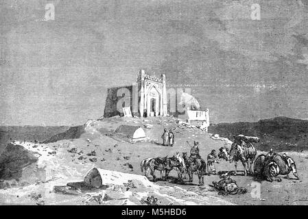 Tomb or Mausoleum of Seljuk Sultan Ahmad Sanjar (1157) in the Ruins of the Ancient City of Merv, near Mary, Turkmenistan - Stock Photo