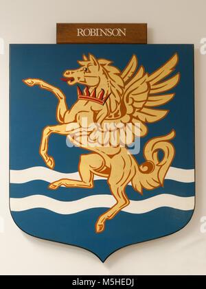 CAMBRIDGE, ENGLAND, UK - DECEMBER 03 2011: Coat of Arms of Robinson College Cambridge - Stock Photo