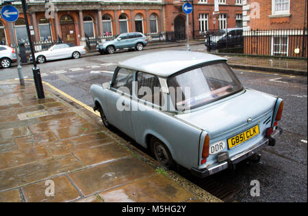 A Trabant  Seen parked up in Marylebone, London, England, UK. Credit: London Snapper - Stock Photo