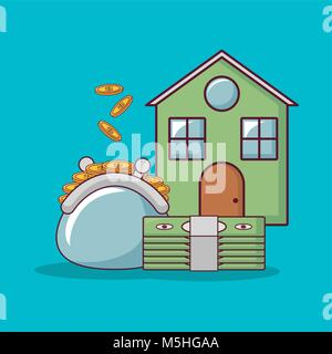 house and money related icons - Stock Photo