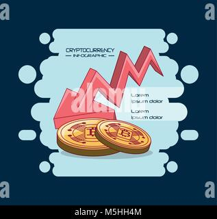 Cryptocurrency infographic design - Stock Photo