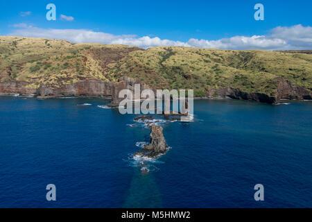 Honopu Bay, AKA, Three Sisters, Island of Lanai, Hawaii - Stock Photo