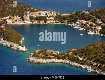 Small Adriatic village Zaklopatica on Lastovo island, Croatia. - Stock Photo