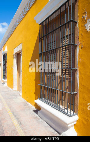 Typical colonial street in Campeche, Mexico. Historic Fortified Town of Campeche - UNESCO World Heritage Site. - Stock Photo