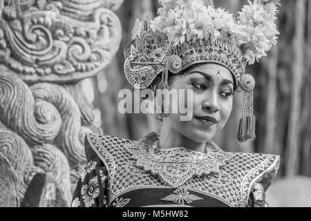 Portrait of a Balinese dancer in traditional attire BW, Dragon Bridge, Monkey Forest, Ubud, Bali - Stock Photo