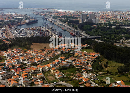 Aerial view to the port of Leixoes in Matosinhos, Porto, Portugal - Stock Photo