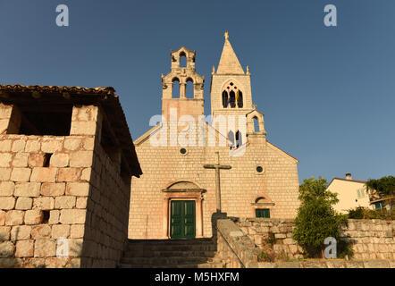 The church of Saint Kosmas and Damian in Lastovo town on  island of Lastovo, Croatia - Stock Photo