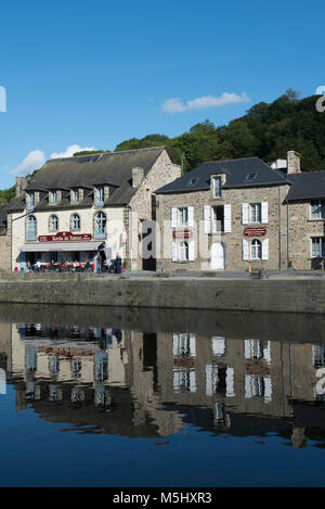 The Port of Dinan on the Rance in Brittany, France. The Harbour was a major trading port from the 11th century but - Stock Photo