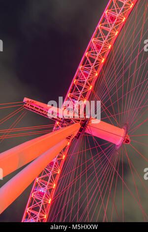 London, United Kingdom, February 17, 2018: UK skyline in the evening. Ilumination of the London Eye - Stock Photo