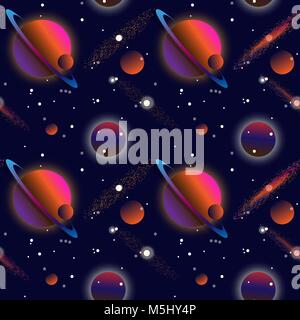 Realistic open space. The milky way, stars and planets. Alien planet background. Gas giant with planets.Vector cosmic - Stock Photo