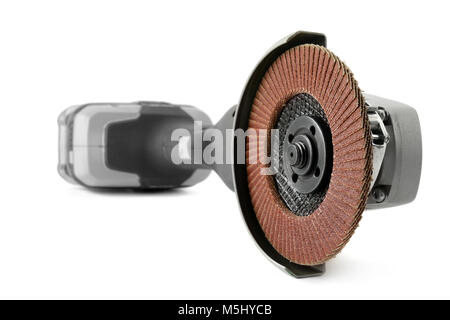 Battery angle grinder isolated on white background. Focus on foreground - Stock Photo